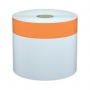 "Cascade Labeling™ High-Tack Industrial Label Tape, White w/ 1.00"" Orange Stripe, 4.00"" x 140'"