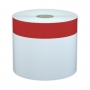 "Cascade Labeling™ High-Tack Industrial Label Tape, White w/ 1.00"" Red Stripe, 4.00"" x 140'"